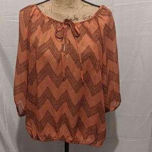 Maurices Chevron Print Sheer Peasant Blouse